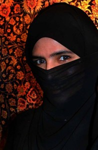 An image of a niqab, which is a face veil worn by some Muslim women. (Wikimedia Commons)