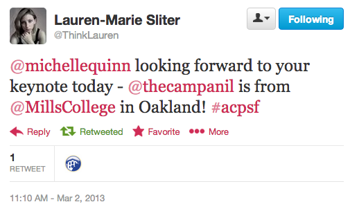 Lauren's tweet to Michelle Quinn before her keynote speech. (Twitter)