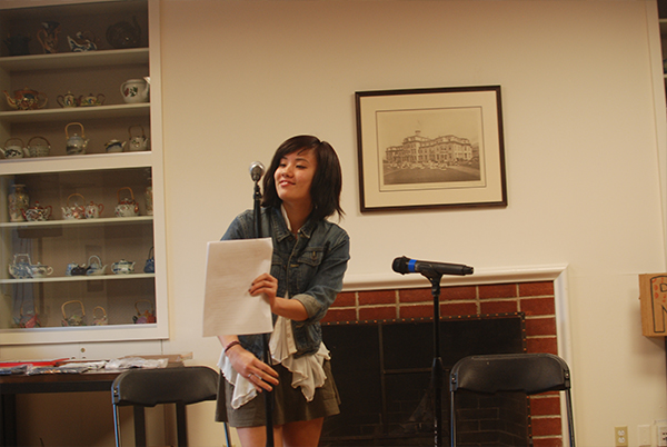 First-year Diana Nguyen reads a poem that she wrote.
