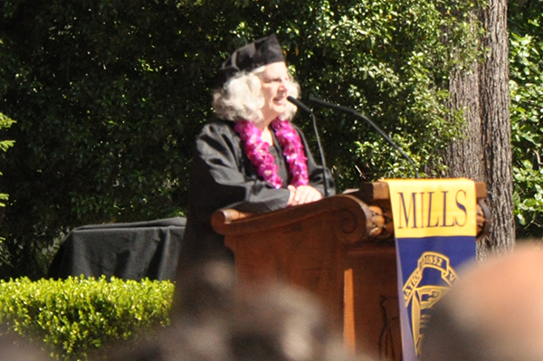 Karen Gordon gives her Commencement speech as the Student Speaker. (Photo by Melodie Miu)