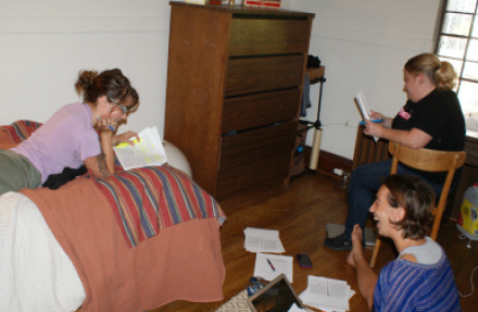 Students Wehmeyer (left) and Patrick (top right) study with friend Sara Melish. (Sara Borden)