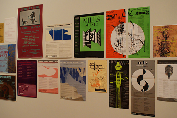 Various posters for past Mills music concerts.