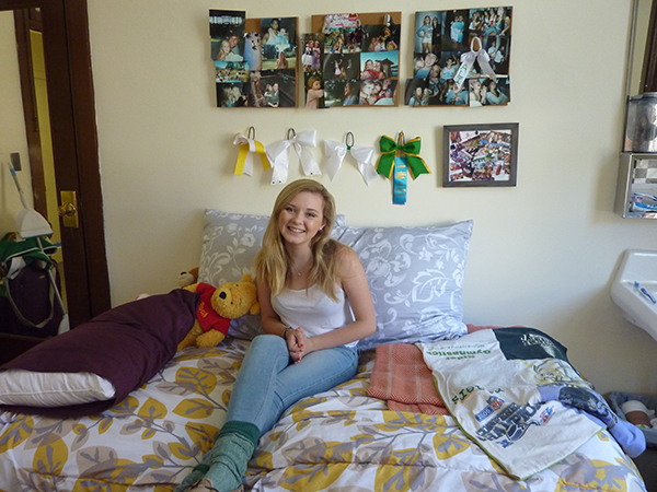 Ali Sorenson in her dorm room. (Photo by )