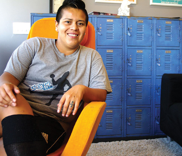 Owner Nathalie Huerta lounges in the Perfect Sidekick, the nation's first and only LGBTQ gym. (All photos courtesy of Nathalie Huerta)