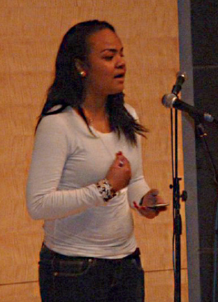 Victoria Kupu performs at the Poetry Slam. (Courtesy of Victoria Kupu)