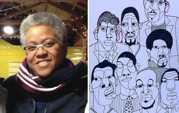 "Ajuan Mance (left) is not only a beloved and respected professor at Mills, but also a talented artist who is currently working on her project ""1001 Black Men."" (Images courtesy of Ajuan Mance)"