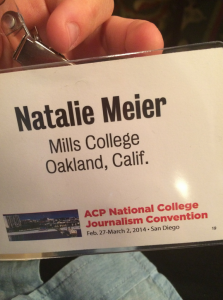 Managing Editor Natalie Meier's news badge at ACP in San Diego.