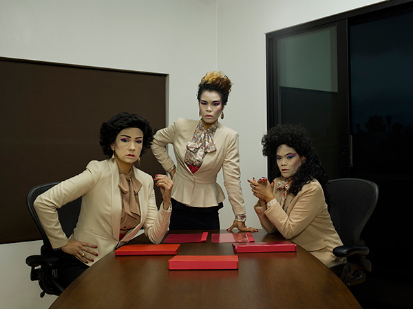 Barrios (right) with her fellow M.O.B. artists Jenifer Wofford (left) and Reanne Estrada (center) as Manananggoogle business executives. (Photo courtesy of Mail Order Brides/M.O.B.)