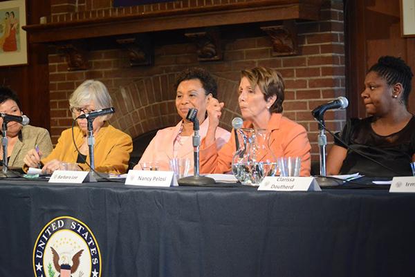 "The ""When Women Succeed..."" panel featuring Congresswomen Nancy Pelosi, Barbara Lee, and Lynn Woolsey. (Jen Mac Ramos)"