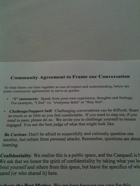 "Image tweeted by @thecampanil: ""Community Agreement guidelines are set out on each table #millstownhall"""