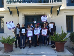 Students and adjuncts protested outside the Board of Trustees Meeting on November 13 after being told they could no longer participate. (Alexina Estrada)