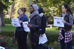 The Take Back Mills Rally brought together students and faculty from all departments. (Laura Elizarraras)