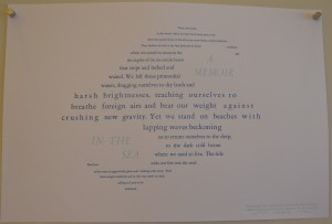 Horsma's letterpress printed broadside explores content and form through the shapes the words make on the page. ( Jana Salaam)
