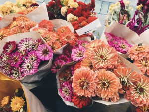 The Ferry Plaza Marketplace sells flowers in addition to produce, prepared food, baked goods and other items on Tuesdays and Saturdays.